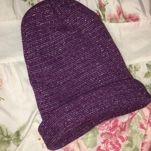 ‼️4/$10 Fleece Lined Purple&Silver sparkle Beanie